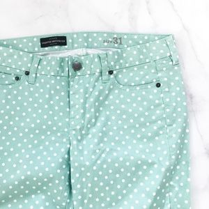 J. Crew Cropped Matchstick Jean Dotted Spearmint